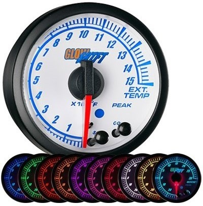 white face, elite, 10 color, exhaust gas temperature gauge, 1500 degree, pyrometer gauge, egt gauge, led exhaust gauge, 10 color exhaust gauge