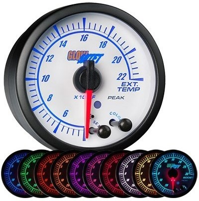 White face, elite, 10 color, led, exhaust gas temperature gauge, 2400 degree, egt gauge, led exhaust gauge, 10 color exhaust gauge
