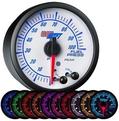white face, elite, 10 color, led fuel pressure gauge, 100 psi fuel gauge
