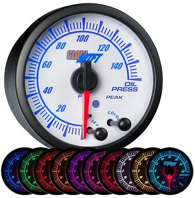 10 color, white face, elite, oil pressure gauge, led oil pressure gauge, oil press gauge, psi oil pressure gauge