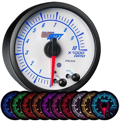 10 color, white face, elite, tachometer, led tachometer gauge, tach gauge, white tack gauge, led tack gauge