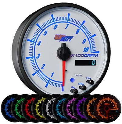 10 color, white, face, elite, 3, inch, tachometer, led tachometer gauge, tach gauge, white tack gauge, led tack gauge