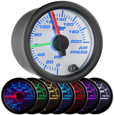air suspension gauge, air bag gauge, 200 psi, dual pressure air gauge, air suspension, air bag gauge