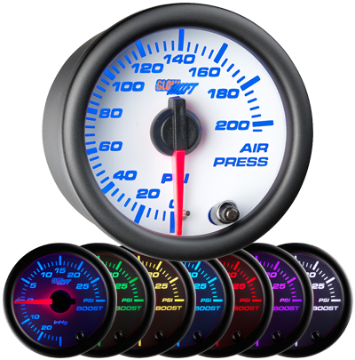 air suspension gauge, air bag gauge, 200 psi, single pressure air gauge, air suspension, air bag gauge
