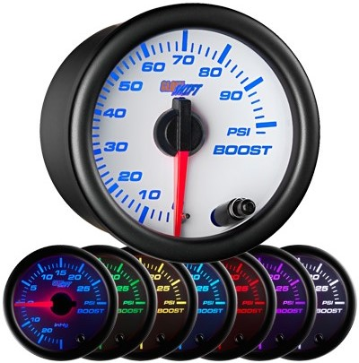 white face, 7 color, boost gauge, 100 psi boost gauge, led boost gauge, 100 pound boost gauge