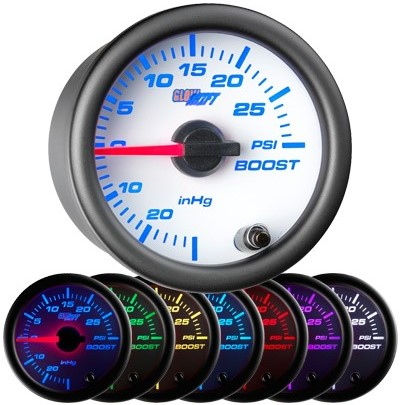 white boost gauge, 30psi, boost gauge, led boost gauge, 10 color boost gauge, turbo gauge