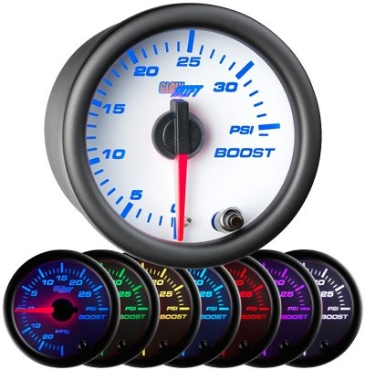 White face boost gauge, 35 psi boost gauge, led boost gauge, 35 pound boost gauge