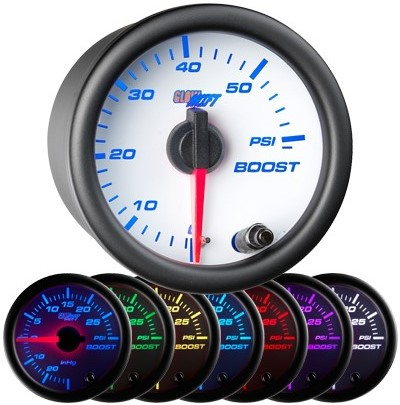 white face boost gauge, 60 psi boost gauge, led boost gauge, 60 pound boost gauge