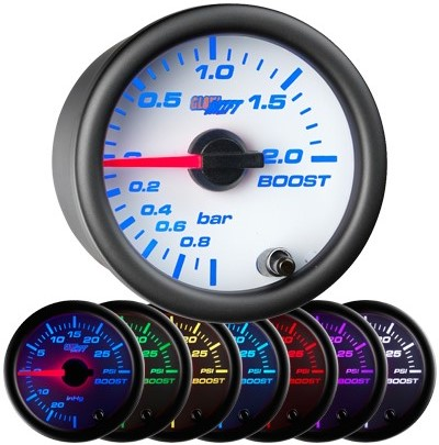 white boost gauge, bar, boost gauge, led boost gauge, 10 color boost gauge, turbo gauge