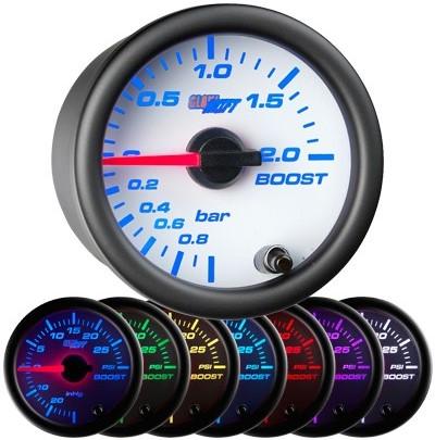 white boost gauge, bar, boost gauge, led boost gauge, 10 color boost gauge, turbo gauge