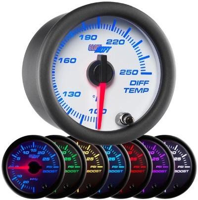 7 color differential temperature gauge, white face differential gauge, led differential gauge, truck differential gauge