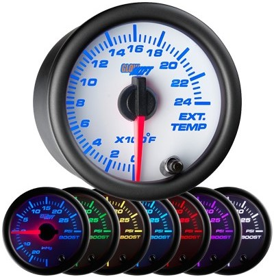white, face, exhaust gas temperature gauge, 2400 degree, egt gauge, led exhaust gauge, 7 color exhaust gauge