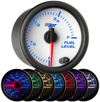 7 color fuel level gauge, led fuel level gauge, white fuel gauge, led gas gauge
