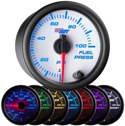 7 color fuel pressure gauge, white face fuel pressure gauge, 100 psi fuel gauge
