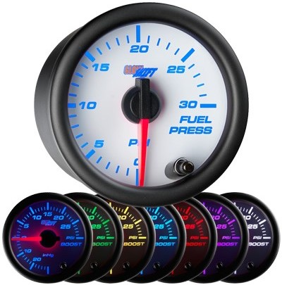 7 color fuel pressure gauge, white face fuel pressure gauge, 30 psi fuel gauge