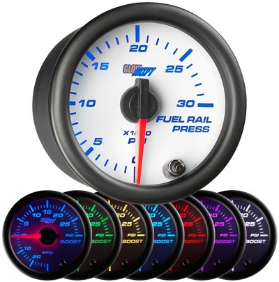 7 color fuel rail pressure gauge, white face fuel rail pressure gauge, 30000 psi fuel gauge