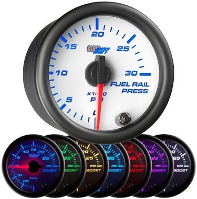 7 color fuel rail pressure gauge, white face fuel rail pressure gauge, 30000 psi fuel gauge