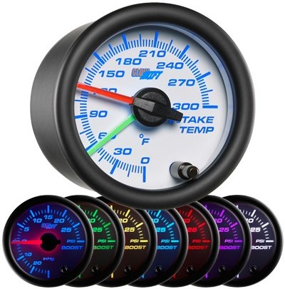 intake temperature gauge, led intake temperature gauge, intake gauge, white air temp gauge, led air temperature gauge