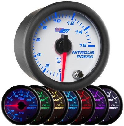 7 color nitrous pressure gauge, led nitrous pressure gauge, white nos gauge, led nos gauge