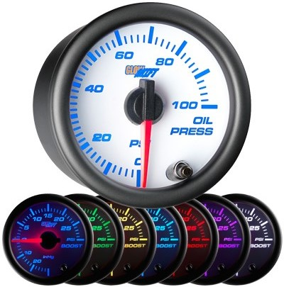 7 color white face oil pressure gauge, led oil pressure gauge, oil press gauge, 100 psi oil pressure gauge