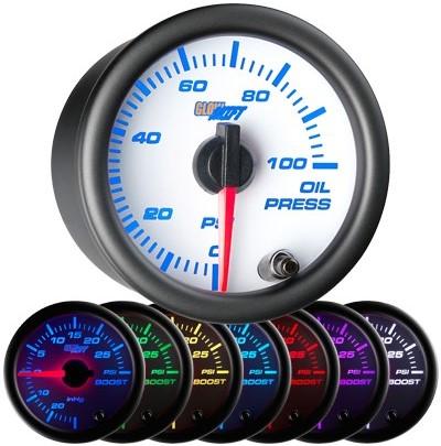 7 color white face oil pressure gauge, led oil pressure gauge, oil press gauge, 100 psi oil pressure gauge