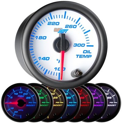 7 color oil temperature gauge, white face oil temp gauge, engine oil temp gauge, led oil gauge