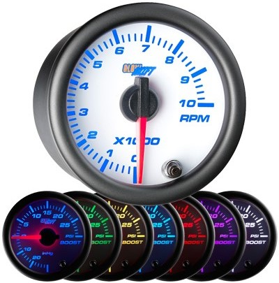 7 color, black, led, tachometer, led tachometer gauge, tach gauge, white tack gauge, led tack gauge