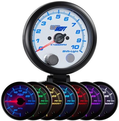 7 color, led, white, tachometer, led tachometer gauge, tach gauge, black tack gauge, led tack gauge