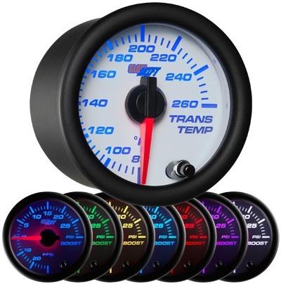 white, face, 7 color, led,  transmission temperature gauge, trans temp gauge, led transmission gauge, 7 color transmission temp gauge