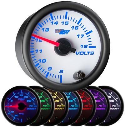 7 color, white face, volt , gauge, led volt gauge, 12 volt gauge