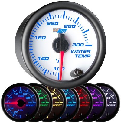 white, face,7 color, water temperature gauge, white face coolant temperature gauge, white face water temp gauge, white face coolant temp gauge, led water temp, led coolant temp