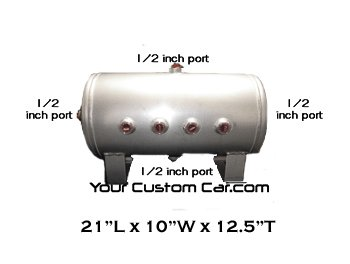 air tank, 5 gallon, aluminum, 1/2 inch ports, 8 port