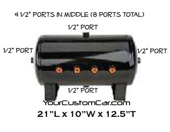 air tank, 5 gallon, black, 1/2 inch ports, 8 port