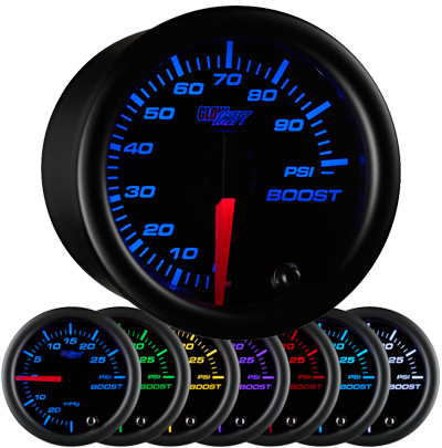 black face boost gauge, 100 psi boost gauge, led boost gauge, 100 pound boost gauge