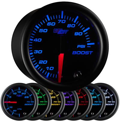 black face boost gauge, 100 psi boost gauge, led boost gauge, 100 pound boost gauge