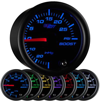 black boost gauge, 30psi,  boost gauge, led boost gauge, 10 color boost gauge, turbo gauge