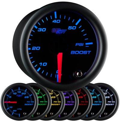 black face boost gauge, 60 psi boost gauge, led boost gauge, 60 pound boost gauge