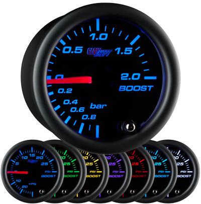 black boost gauge, bar, boost gauge, led boost gauge, 10 color boost gauge, turbo gauge