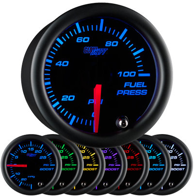 7 color fuel pressure gauge, black face fuel pressure gauge, 100 psi fuel gauge