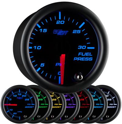 7 color fuel pressure gauge, black face fuel pressure gauge, 30 psi fuel gauge