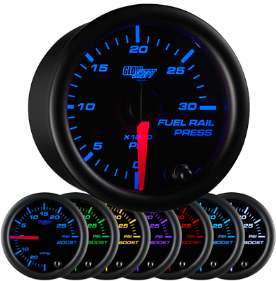 7 color fuel rail pressure gauge, black face fuel rail pressure gauge, 30000 psi fuel gauge