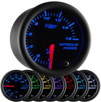 7 color nitrous pressure gauge, led nitrous pressure gauge, black nos gauge, led nos gauge