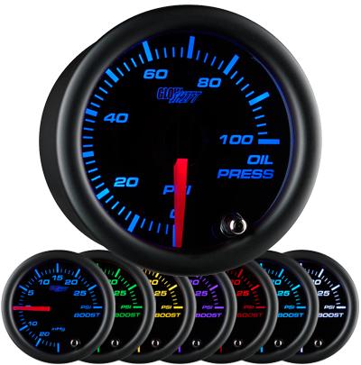 7 color black face oil pressure gauge, led oil pressure gauge, oil press gauge, 100 psi oil pressure gauge