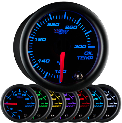 7 color oil temperature gauge, black face oil temp gauge, engine oil temp gauge, led oil gauge