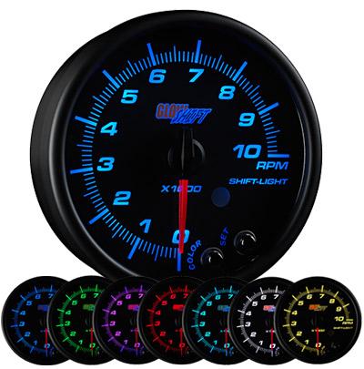7 color tachometer, led tachometer gauge, tach gauge, black tack gauge, led tack gauge