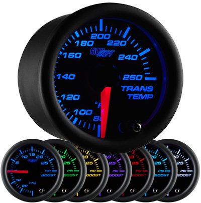 black face transmission temperature gauge, trans temp gauge, led transmission gauge, 7 color transmission temp gauge