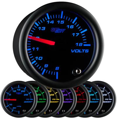 7 color, black face, volt , gauge, led volt gauge, 12 volt gauge