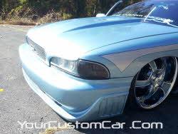 custom impala ss front, 2 inch cowl hood, fiber glass front , custom headlights, Stillen bumper cover