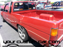 red mazda pickup, friends in low places, car show