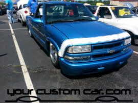 custom blue s10, friends in low places, car show